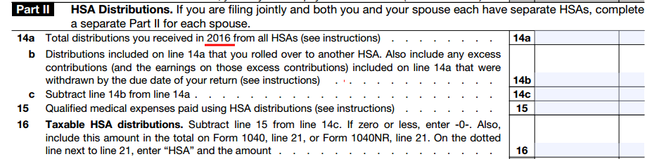 2016 Hsa Form 8889 Instructions And Example Hsa Edge