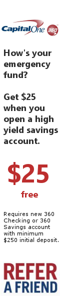 $25 free when you open a high yield savings account with CapitalOne