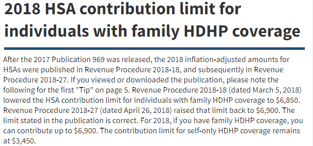 2018 Hsa Family Coverage Contribution Limit Change Irs