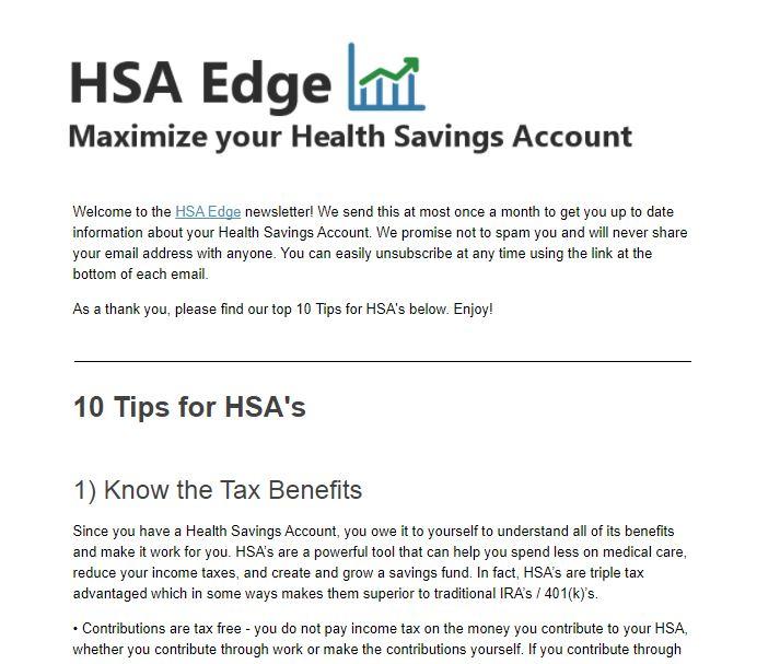 HSAedge.com newsletter sample