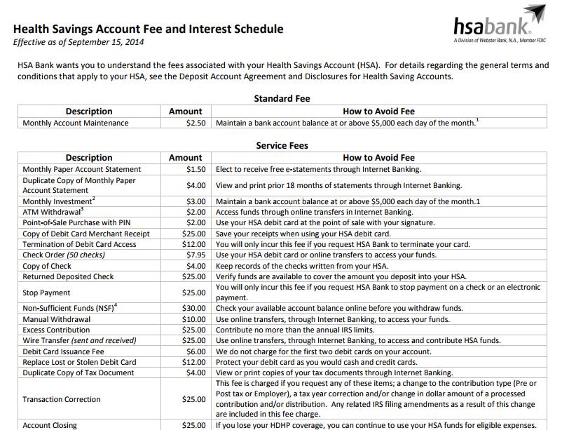 HSA bank fees
