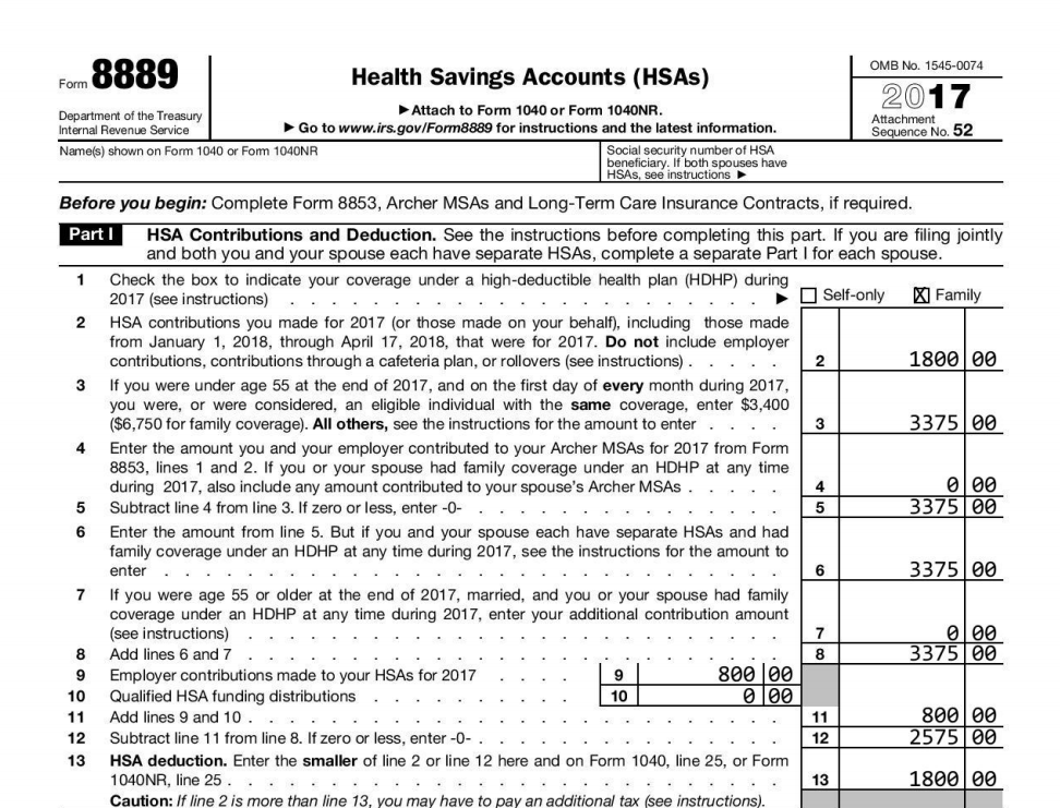 2017 HSA Form 8889 part 1 example
