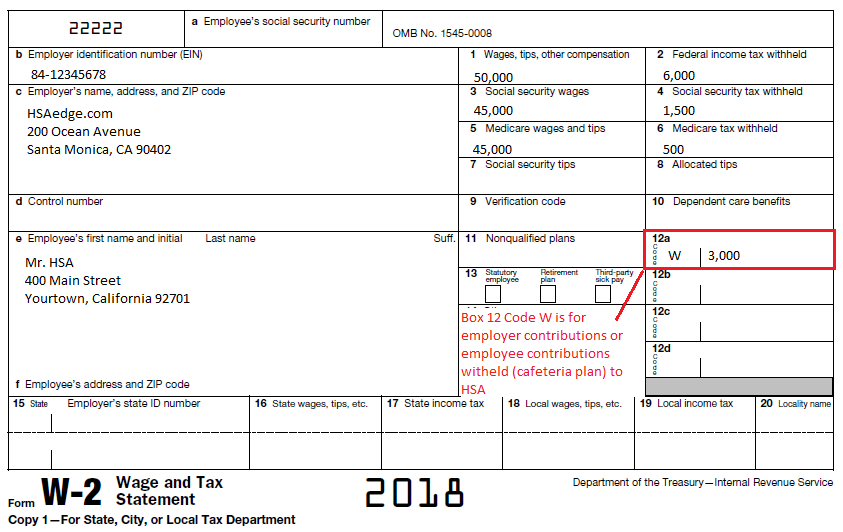 "w2 form 2018  HSA Employer Contributions on W13 Box 113 ""W"" 