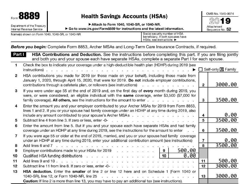 2019 Form 8889 Part 1 example