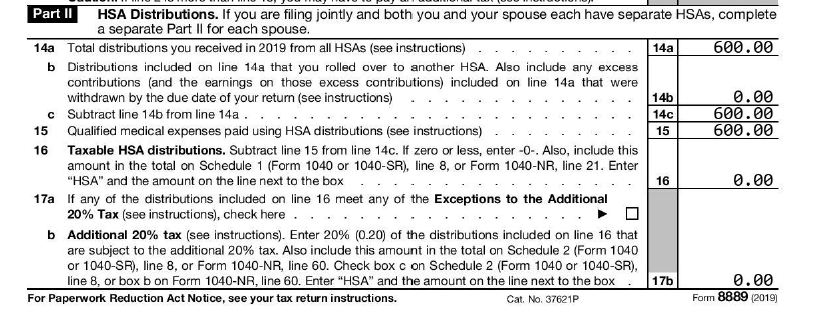 2019 Form 8889 part 2 example